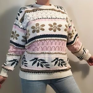 Vintage GRACE knit sweater white pink blue brown
